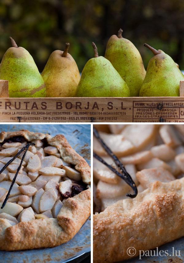 Tarte rustique aux poires, amandes et chocolat