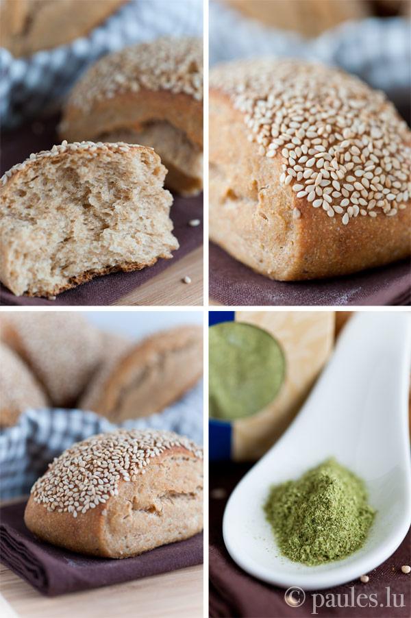Joghurt-Sesam-Brötchen mit Schabziger Klee
