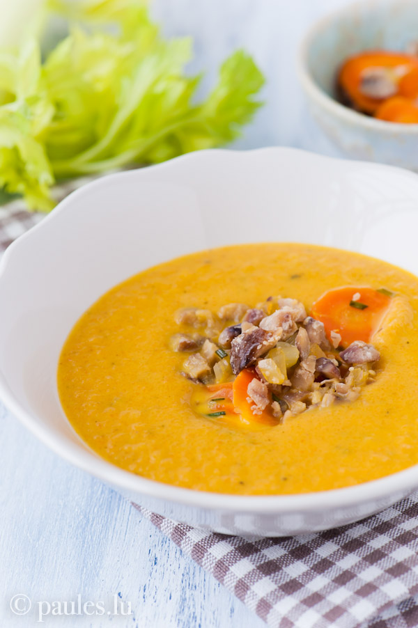 Möhren-Maroni-Suppe mit Rosmarin