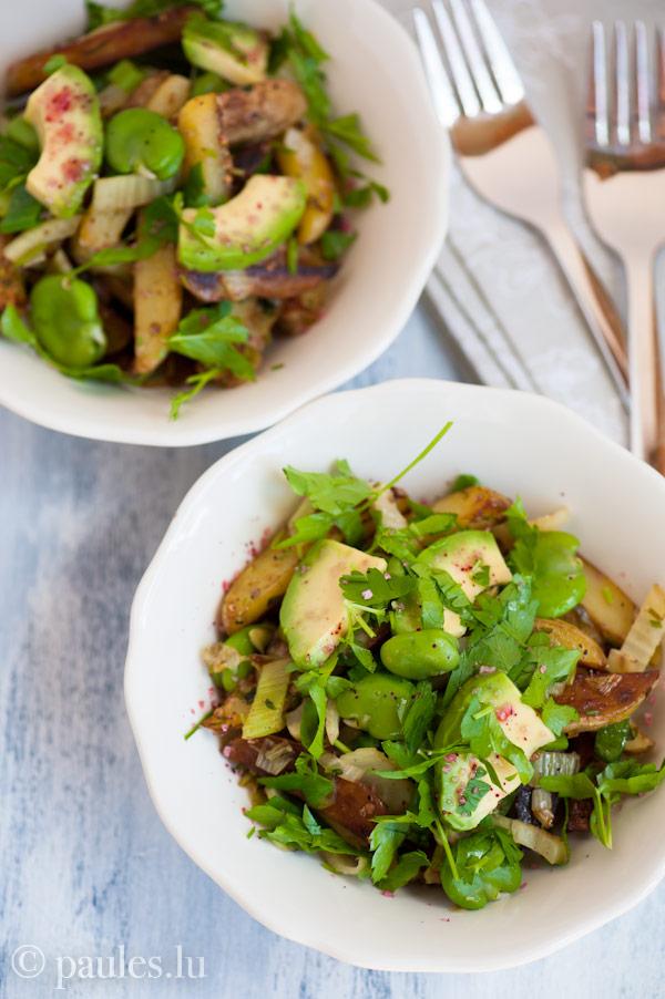 Knusprige Kartoffelpfanne mit Dicken Bohnen und Avocado