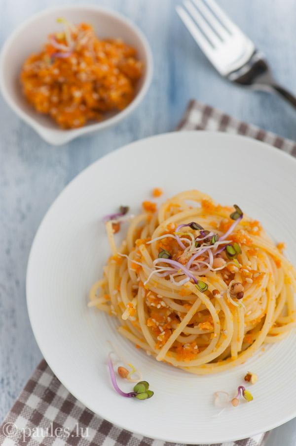 Möhrenkaviar und Spaghetti